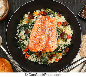 Salmon with Riced Cauliflower Salad - Salmon with Cracked...