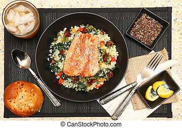 Salmon with Riced Cauliflower Salad - Salmon with Riced...