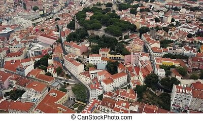 Lisbon from a bird's eye view. Castle of St. George - Flight...