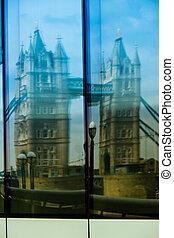 London, Tower Bridge, Reflection in window