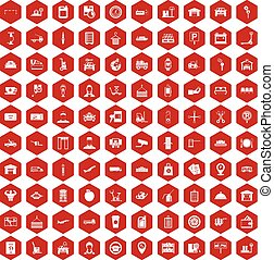 100 loader icons hexagon red