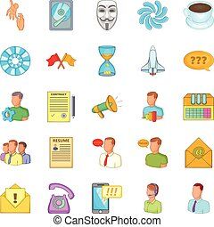 Business direction icons set, cartoon style