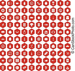 100 lunch icons hexagon red - 100 lunch icons set in red...