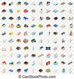 100 building icons set, isometric 3d style - 100 building...