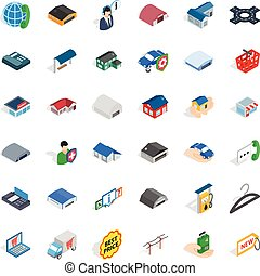 Safe deposit icons set, isometric style
