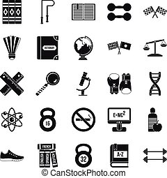 College icons set, simple style - College icons set. Simple...