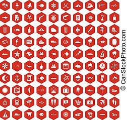 100 marine environment icons hexagon red - 100 marine...