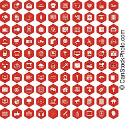 100 information technology icons hexagon red - 100...