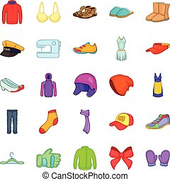 Clothing repair icons set, cartoon style - Clothing repair...