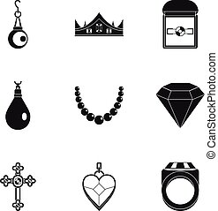 Jewelry icon set, simple style
