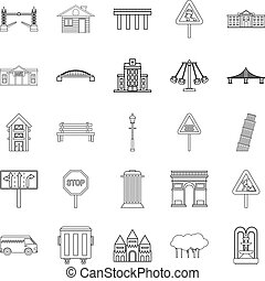 Mart icons set, outline style
