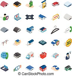 Deposit account icons set, isometric style