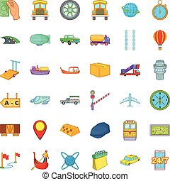 Delivery icons set, cartoon style