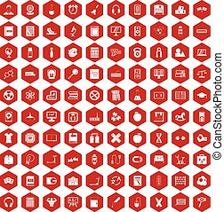 100 learning kids icons hexagon red