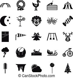 Courtyard icons set, simple style - Courtyard icons set....