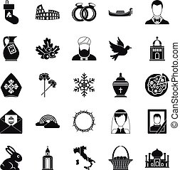 Church icons set, simple style - Church icons set. Simple...