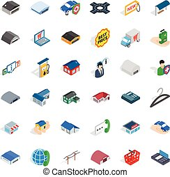 Privacy deposit icons set, isometric style