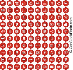 100 IT business icons hexagon red - 100 IT business icons...