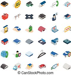 Safety deposit icons set, isometric style