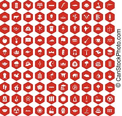 100 lotus icons hexagon red - 100 lotus icons set in red...