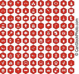 100 kindergarten icons hexagon red