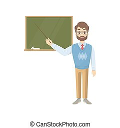 Teacher with chalkboard.