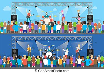 Open air concerts set. Music festival with people.