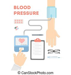 Blood pressure checking.