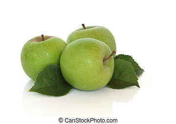 Apples - Green apple trio with leaf sprigs, isolated over...
