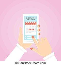 Menstruation calendar illustration.
