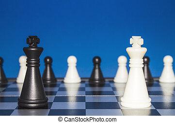 孤獨, 組, 圖, 圖, 孤獨, 針對, 政策, 黑色, 國際象棋, 小, 外面, 白色, 公眾, 看