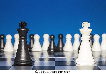 孤獨, 組, 圖, 圖, 孤獨, 針對, 大, 政策, 黑色, 國際象棋, 外面, 白色, 公眾, 看