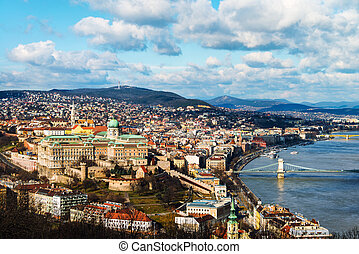 Aerial view of Budapest, Hungary with clouds