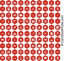 100 military icons hexagon red