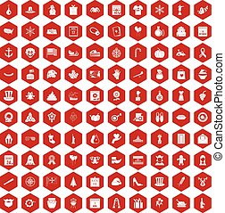 100 national holiday icons hexagon red - 100 national...
