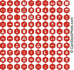 100 offence icons hexagon red - 100 offence icons set in red...