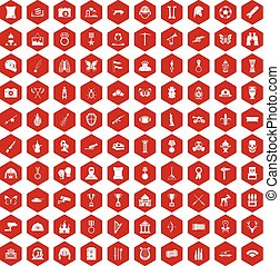 100 museum icons hexagon red