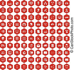 100 network icons hexagon red - 100 network icons set in red...