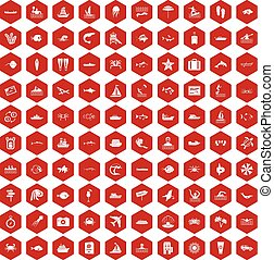 100 ocean icons hexagon red - 100 ocean icons set in red...