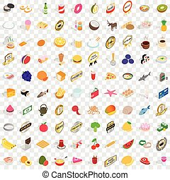 100 delicious icons set, isometric 3d style - 100 delicious...
