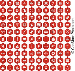 100 meat icons hexagon red - 100 meat icons set in red...