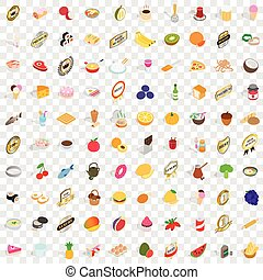 100 fruits icons set, isometric 3d style - 100 fruits icons...