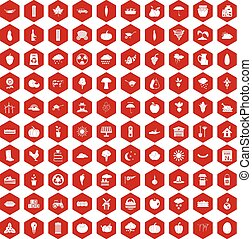 100 pumpkin icons hexagon red - 100 pumpkin icons set in red...