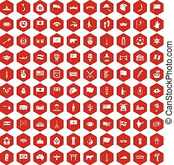 100 national flag icons hexagon red - 100 national flag...