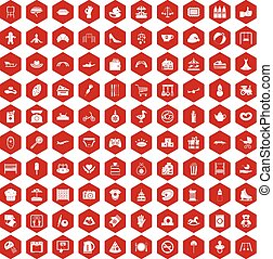 100 mother and child icons hexagon red