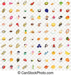 100 food and drinks icons set, isometric 3d style - 100 food...