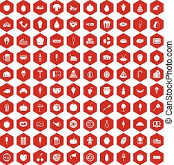 100 tasty food icons hexagon red