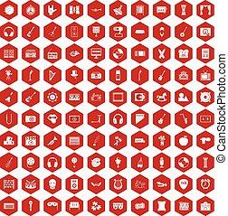 educación, iconos,  100, hexágono,  musical, rojo