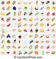100 food icons set, isometric 3d style - 100 food icons set...