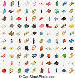 100 clothes icons set, isometric 3d style - 100 clothes...